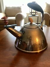 Vintage Post Modern Alessi Michael Graves Tea Kettle Red Whistle Stainless Steel