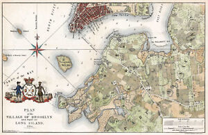 """1864 Historical Map of Brooklyn, New York City in 1766 - 10""""x16"""" Wall Art Print"""