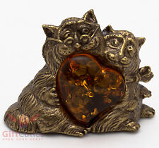 Solid Brass Amber Figurine of Cat Couple Together and Forever IronWork