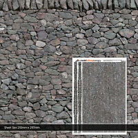 5 x SHEETS DRY STONE WALL WALLPAPER O GAUGE 1:43 MODEL RAILWAY BUILDINGS TX007