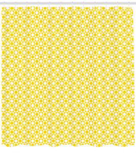 Yellow Retro Shower Curtain Fabric Bathroom Decor Set with Hooks 4 Sizes