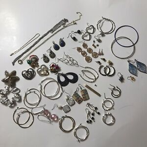 60+ Pc Mixed Jewelry Lot Brooch Earrings Loop Necklace Silver Gold Tone Bracelet