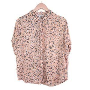 Patrons of Peace Blouse Shirt Top Short Sleeve Pink Yellow Floral Camo M 10/12UK