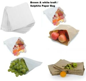 PAPER BAGS-White,Brown,Window,Kraft Bag-Kids Party Market Stall Lunch Sandwich