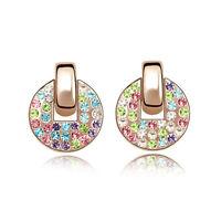 18k Gold Plated Multi Coloured Sparkling Czech Rhinestone Fashion Stud Earrings