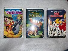 Lot (3) Disney Black Diamond Classics Vhs Fox & Hound, 101 Dalmatians, Jungle Bk