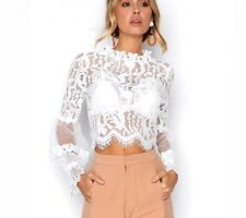 White Lace Blouse Shirts Women Elegant Flare Sleeve Crop Top Sexy Hollow Out New