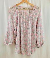 LC Lauren Conrad Blouse Top Floral Button Rose Pink Size XL