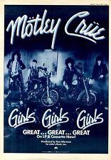 "23/5/87pg5 Album Advert 15x10"" Motley Crue, Girls Girls Girls"