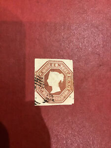 GB QV 1847-1854 10d  Brown  Embossed  Stamp Fine Used  SG 57  Cat. £1,500