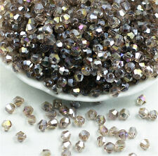 100PCS 4*4MM AB Gray Multicolor Bicone Crystal Faceted Gems Loose Beads