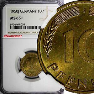 "Germany - Federal Republic 1950 J 10 Pfennig NGC MS65+ ""PLUS"" TOP GRADED KM# 108"
