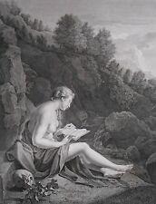 Gravure XIXème - Ste Magdelaine dans le Désert - Werff Adrien Vender - Halbon