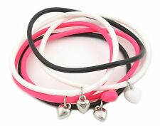 Zest 6 Gummy Bands Bracelets with Heart Charms Black White & Pink