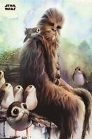 Star Wars Episode 8 Poster Chewbacca & Porgs 61 x 91,5 cm Plakat Wanddeko Deko