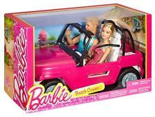 Barbie - Muñeco Ken y Muñeca con su coche de playa (mattel Cjd12)