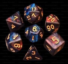 New 7 Piece Deep Red Blue Gemini Polyhedral Dice Set – Burgundy Bag – RPG D&D