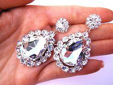 Clear Crystal Long Earrings Wedding Bride Bridal Fitness bikini Pageant Prom Gem