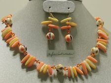 TangerineYellow & Creme Dreamcicle Mother of Pearl Shell Necklace & Earring SALE