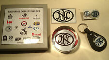 FN GUNS  COLLECTORS SET : PAPERWEIGHT, KEYRING, BADGES, & MAGNET & PATCHES