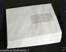 Lot de 50 enveloppes blanches A5 format 162 X 229 mm avec fenêtres 45x100mm C5
