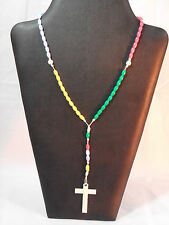 NOS NEW Simple Colorful Child's Rosary - Plastic Beads & Cross - Easy to Learn