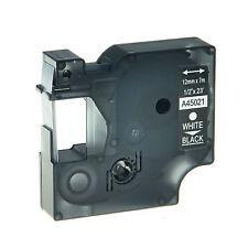 12mm 7m Schriftband Kasette für Dymo D1 45021 Weiß auf Schwarz LM 400 420P 450