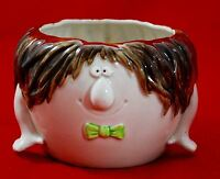 Vintage 1975 Fitz and Floyd FF Planter Pot - Funny Face - Hair & Hands Bowtie