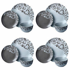 12Pc Dinner Set Grey White Ceramic Plates Bowls Service for 4 Family Dining Set
