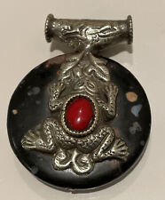 Antique Vintage Tibetan Nepali Silver Frog  & Elephant Pendant On Agate w Stones