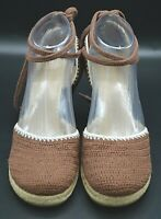 AK Anne Klein Size 6.5 Womens Wedge Sandal Knit Crohet Brown Ankle Tie Close Toe