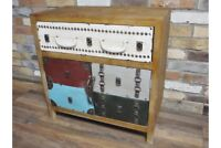 Industrial Wooden Storage Chest Drawers Sideboard - Suitcase Styled Colourful