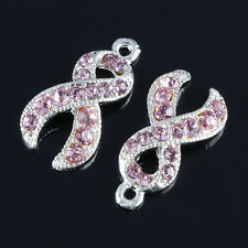 10PC Crystal Rhinestone Pink Ribbon Charms Bead Findings Breast Cancer Awareness