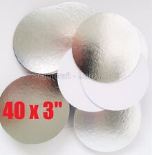 "40 x 3"" ROUND THIN CUT EDGE SILVER cake cupcake boards cards sugarcraft CULPITT"