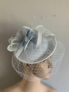 NEW Pale Blue Veiled Headband Clip Wedding Fascinator Race Day Accessories