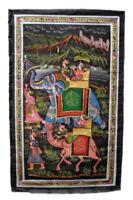 Parete Pittura Mughal Su Seta Arte Scena Di Vita India 75x47cm 35