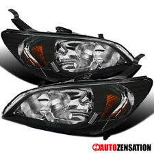 For 2004-2005 Honda Civic 2/4Dr Coupe Sedan Black Headlights Lamps+Amber