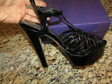 NEW STEVE MADDEN MADDEN GIRL MAYVILLE SANDALS WOMENS 9 HI HEEL BLACK PLATFORM
