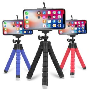Mini Portable Tripod Flexible Octopus Stand Mount With Phone Holder Clip Bracket
