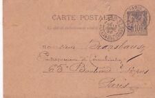 Y95 CARTE POSTALE entier postal 10 centimes SAGE obliteration de PARIS en 1892