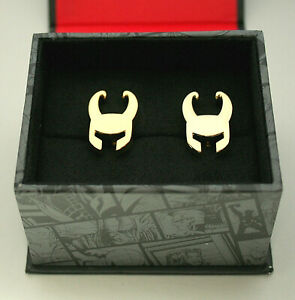 Marvel Comics Classic Loki Helmet Marvel Cufflinks New Gift Box GP