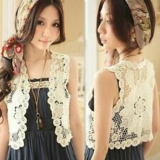L343 Korean Elegant Women Girl Crochet Hollow Vest Jacket Top Waistcoat Size S M