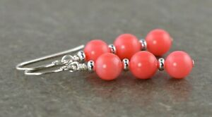 Bright Salmon Pink Coral Gemstone & Sterling Silver Drop Earrings with Gift Box