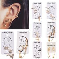 Set Women's Vintage Moon Star Leaf Chain Circle Ear Stud Cuff Wrap Clip Earrings