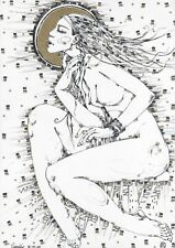 original drawing A3 523RM art by samovar female nude ink Signed 2020