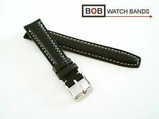 - Bob echtlederuhrband Carbon para deportiva Laco negro 18 mm costura blanco