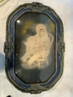 Original Antique Large Child Photo Hand-Colored in Ornate Carved Wood Frame a855