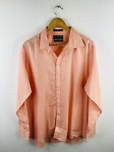 Van Heusen Men's Long Sleeve Shirt Size 44 Orange Check Casual Collared Dress