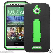 HTC Desire 510 Hybrid Defender Armor Case w/Stand Skin Cover Black Green