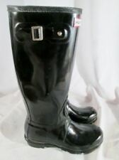 Womens HUNTER Original Gloss Tall Wellies Rain Boots Gumboots BLACK 7 Mens 6